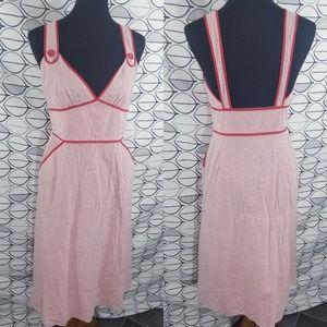 Viola Red Searsucker Stripe Vintage Dress